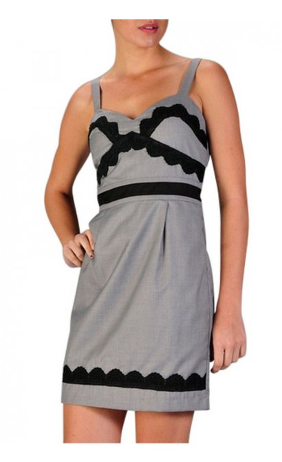 Posh and Playful Grey and Black Lace Dress
